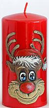 "Profumi e cosmetici Candela decorativa ""Rudolph"", rossa, 7x10cm - Artman Christmas Candle Rudolf"