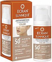 Profumi e cosmetici Fluido solare per viso - Ecran Sunnique Antimanchas Color Spf50+