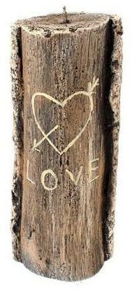 Candela profumata, 8,5x21,5 cm, tronco marrone - Artman Stump Valentin