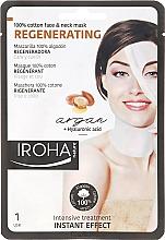 Profumi e cosmetici Maschera viso in tessuto - Iroha Nature Regenerating Argan Oil 100% Cotton Face & Neck Mask