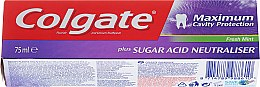 """Profumi e cosmetici Dentifricio """"Neutralizzatore acido dello zucchero"""" - Colgate Maximum Cavity Protection Fresh Mint"""