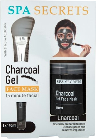 Set - Spa Secrets Charcoal Gel Face Mask (mask/140ml + brush/mask/1pcs)