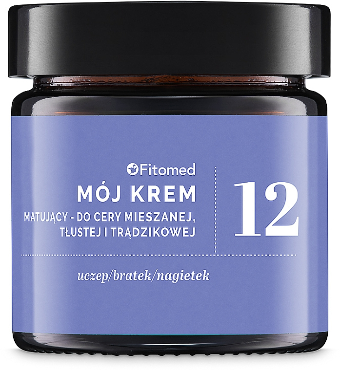 Crema viso alle erbe opacizzante per pelli miste, grasse e acneiche - Fitomed Herbal Cream Nr12