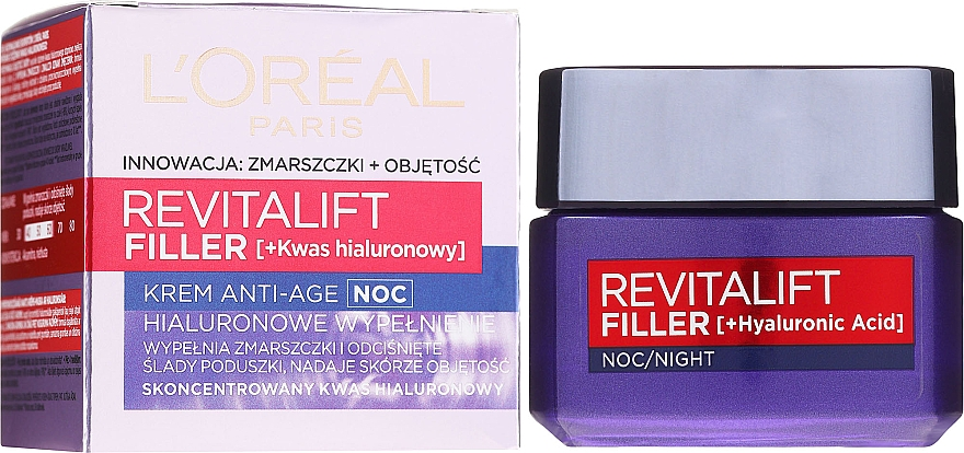 Crema anti-età da notte - L'Oreal Paris Revitalift Filler Hyaluronic Acid Night Cream