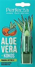 """Profumi e cosmetici Balsamo labbra nutriente """"Aloe vera e cocco"""" - Perfecta Aloe Vera + Coconut"""