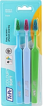 Profumi e cosmetici Set spazzolini da denti, 3 pezzi, blu + azzurro + verde - TePe Colour Soft