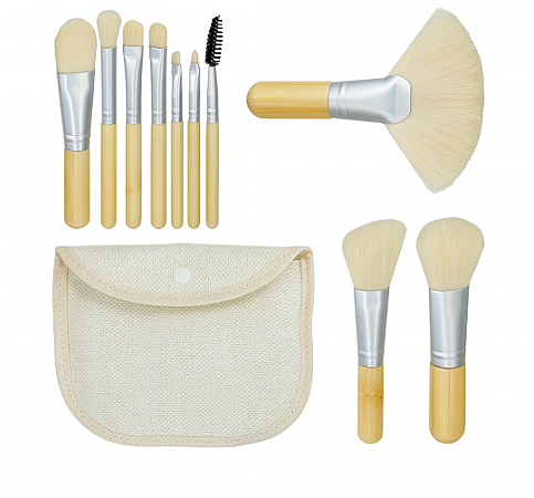 "Set pennelli trucco ""Bamboo White"" 10pz + borsetta - Tools For Beauty"