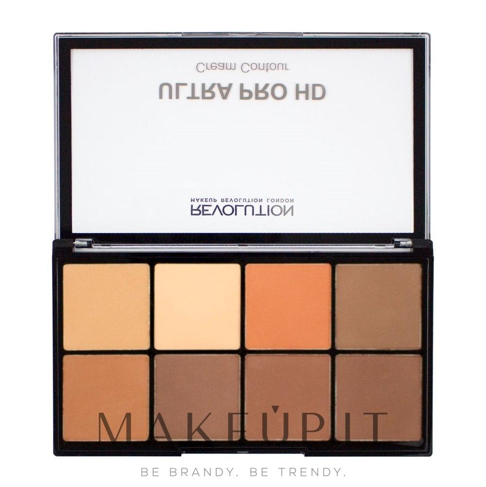 Palette contouring viso - Makeup Revolution HD Pro Cream Contour — foto Medium Dark