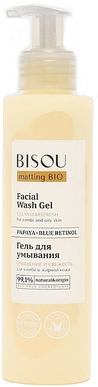 "Gel viso detergente ""Pulizia e freschezza"" - Bisou Matting Bio Facial Wash Gel"