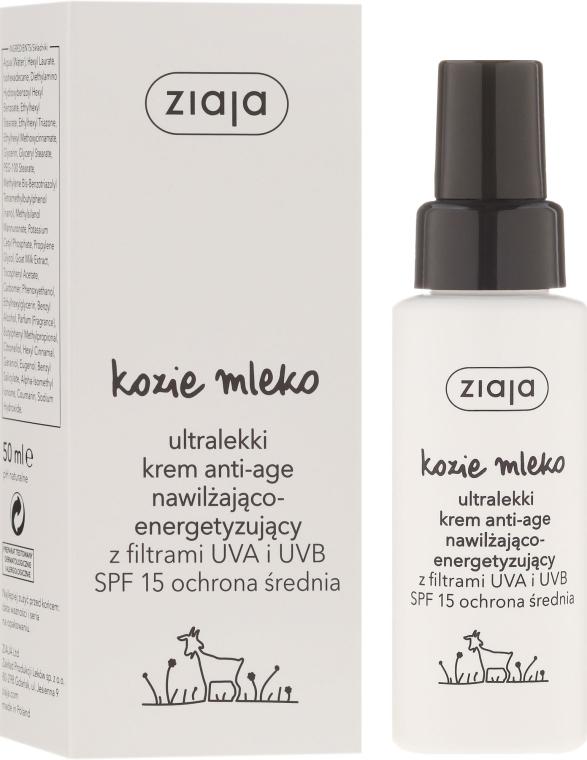 Crema viso ultraleggera anti-età - Ziaja Goat's Milk Ultra Light Moisturizing Energizing Anti-Age Cream SPF15