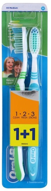 Set spazzolini da denti, medio duro, blu+verde - Oral-B 1 2 3 Natural Fresh 40 Medium
