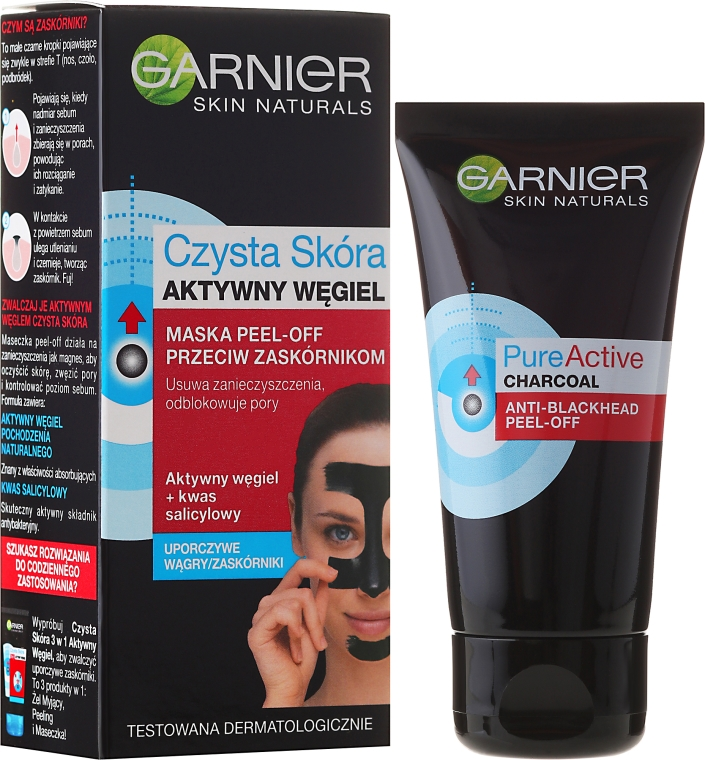 "Maschera contro punti neri ""Pelle pulita con carbone attivo"" - Garnier Skin Naturals Anti-Blackhead Peel Off Mask"
