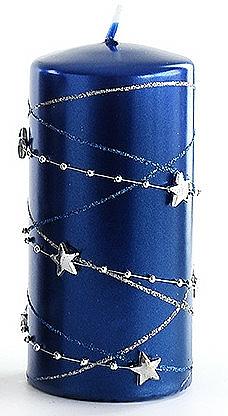 Candela decorativa, blu scuro, 7x10 cm - Artman Christmas Garland — foto N1