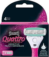 Profumi e cosmetici Lamette di ricambio, 3 pz. - Wilkinson Sword Quattro for Women Sensitive