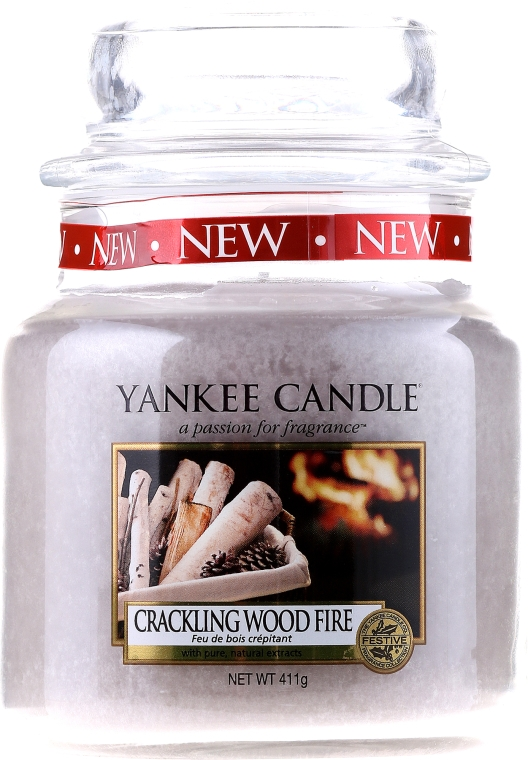 Candela profumata in vetro - Yankee Candle Crackling Wood Fire