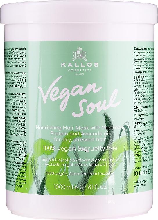 Maschera capelli nutriente con proteine vegetali e olio di avocado - Kallos Cosmetics KJMN Vegan Soul Nourishing Hair Mask