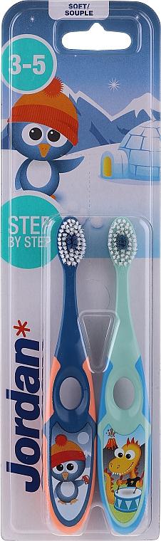 Spazzolino da denti per bambini, 3-5 anni blu + verde - Jordan Step By Step Soft Clean