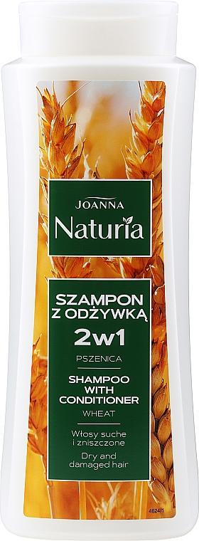 Shampoo condizionante al grano per capelli secchi e danneggiati - Joanna Naturia Shampoo With Conditioner With Wheat