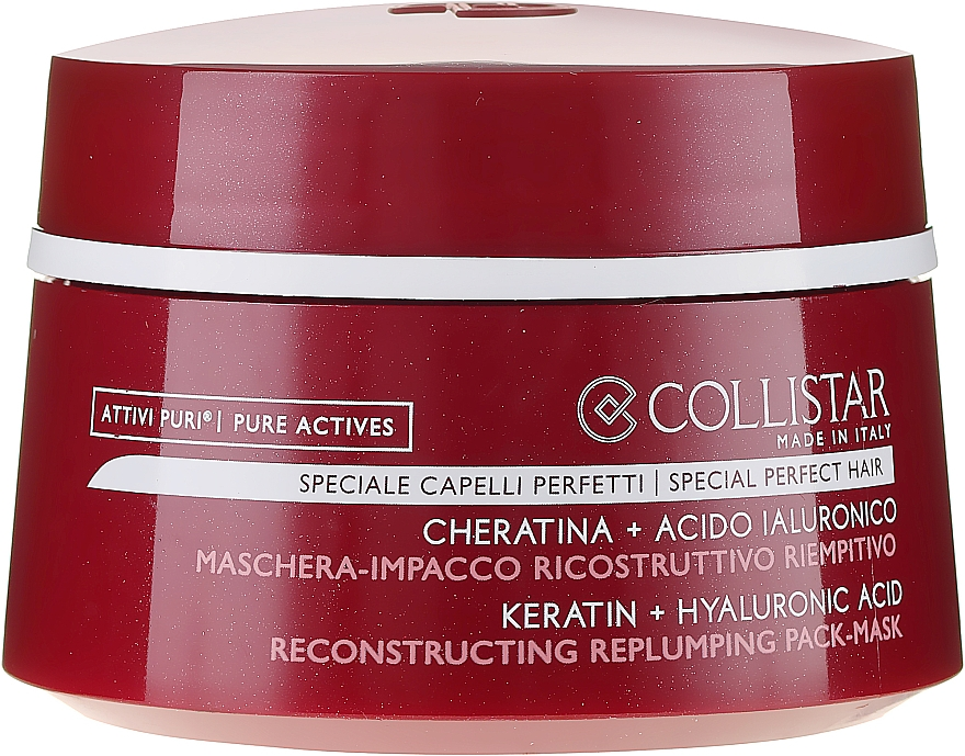 Maschera rigenerante per capelli - Collistar Pure Actives Keratin + Hyaluronic Acid Reconstructive Replumping Mask — foto N2