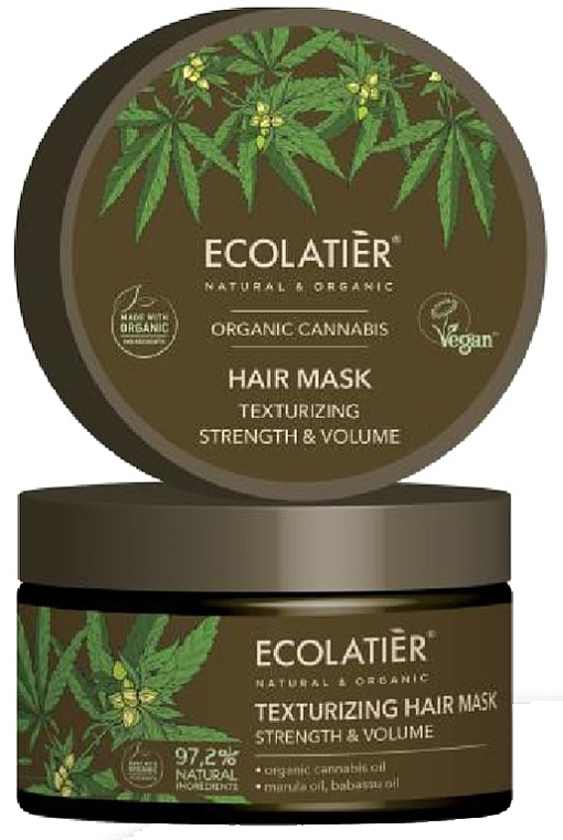 "Maschera per capelli ""Rinforzante e texturizzante"" - Ecolatier Organic Cannabis Hair Mask"