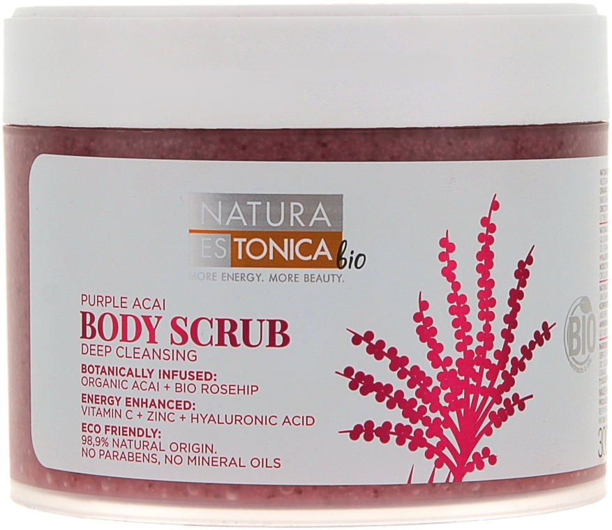 """Scrub corpo """"Rosa Canina e Acai """" - Natura Estonica Purple Acai Body Scrub — foto N1"""