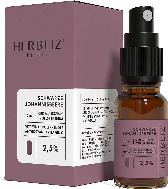 "Olio-spray collutorio ""Ribes nero"" 2.5% - Herbliz CBD Oil Mouth Spray 2,5% — foto N1"