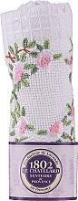 Profumi e cosmetici Asciugamano in cotone bianco con rametto di rosa ricamato - Le Chatelard 1802
