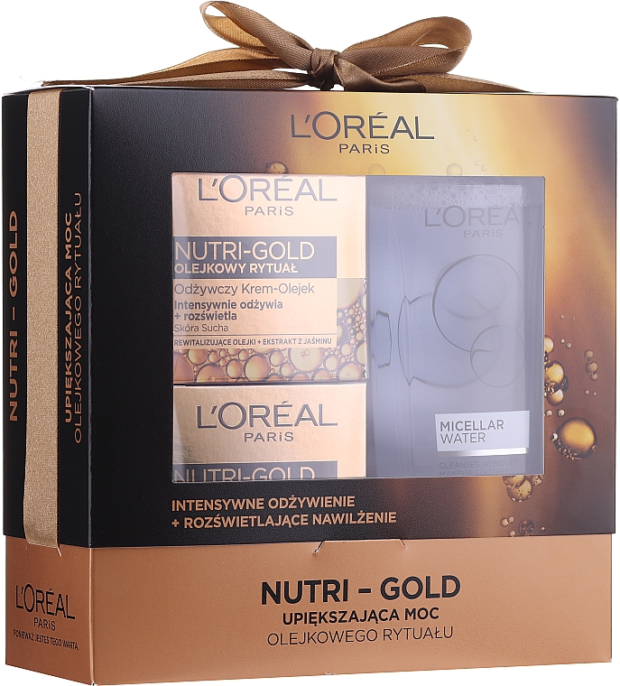 Set L'Oreal Nutri Gold (cr/mask 50 ml + cr/oil 50 ml + micell/wat 200 ml) - Loreal Nutri Gold