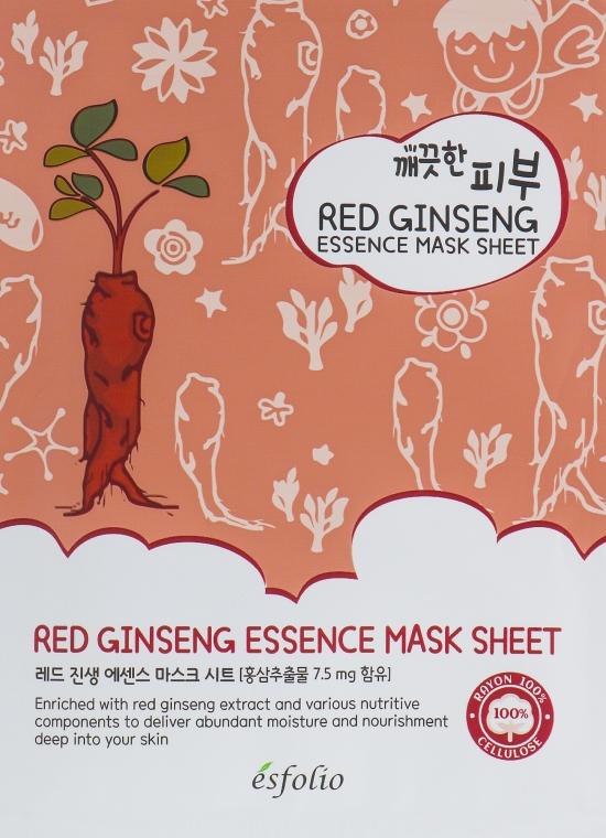 "Maschera in tessuto ""Estratto di ginseng rosso"" - Esfolio Pure Skin Red Ginseng Essence Mask Sheet"