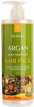 Profumi e cosmetici Maschera per capelli danneggiati all'olio di argan, estratto di henné e peptide di rame - Deoproce Argan Silky Moisture Hair Pack
