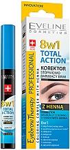 Profumi e cosmetici Correttore per sopracciglia - Eveline Cosmetics Eyebrow Therapy 8in1 Total Action ECorrector Gradually Coloring Eyebrow With Henna