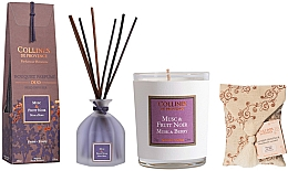 Profumi e cosmetici Set - Collines De Provence Musk And Berry (candle/75g + aroma/diffuser/100ml + sachet/1st)