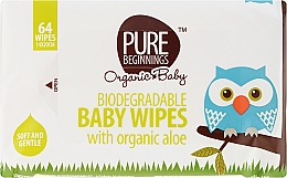 Profumi e cosmetici Salviettine umidificate all'aloe, 64 pz - Pure Beginnings Biodegradable Aloe Baby Wipes