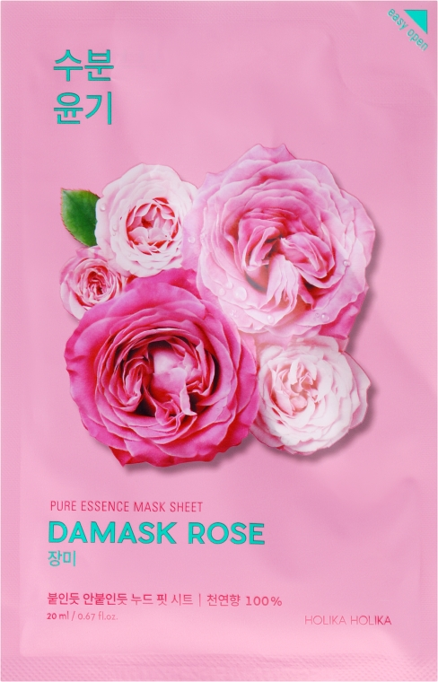 Maschera in tessuto con olio di rosa damascena - Holika Holika Pure Essence Mask Sheet Damask Rose