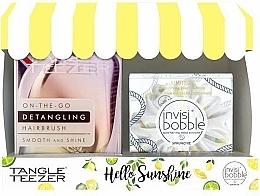 Profumi e cosmetici Set - Tangle Teezer Compact Styler Hello Sunshine Set (brush/1szt + hair/tie/1szt)