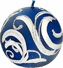 Profumi e cosmetici Candela decorativa, palla, blu con decorazione, 8 cm - Artman Christmas Ornament