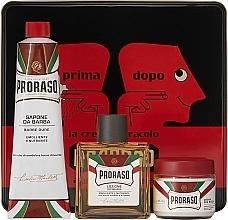 """Profumi e cosmetici Set - Proraso Classic Shaving Metal Red """"Primadopo"""" (pre/cr/100ml + sh/cr/150ml + ash/cr/100ml)"""