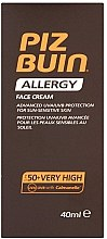 Profumi e cosmetici Crema protezione solare viso - Piz Buin Allergy Face Cream SPF50