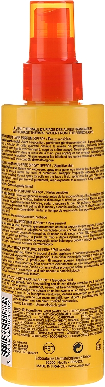 Spray solare per viso e corpo - Uriage Bariesun Spray Sans Parfum SPF50+ — foto N2