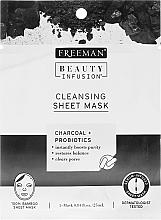 Profumi e cosmetici Maschera detergente per il viso con carbone attivo, probiotici e siero - Freeman Beauty Infusion Cleansing Clay Mask Charcoal & Probiotics