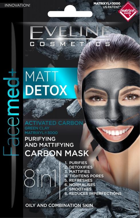 Maschera viso al carbone attivo 8 in 1, detergente e opacizzante - Eveline Cosmetics Facemed+ Matt Detox Mask