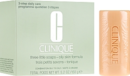 Mini-sapone per la pelle grassa - Clinique Three Little Soaps with Travel Dish Oily Skin Formula — foto N1