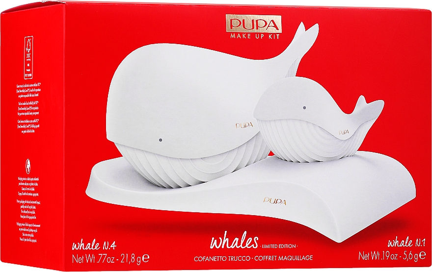 Set - Pupa Whales Shade 001 Makeup Kit Limited Edition (palette/21.8g + palette/5.6g)
