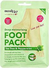 Profumi e cosmetici Maschera piedi idratante - Derma V10 Foot Pack Tea Tree&Peppermint Deep Vegan Moisturising Exfoliating