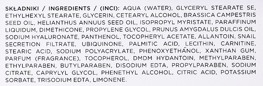 Crema viso antietà - Eveline Cosmetics Skin Care Expert Snail Slime Filtrate + Coenzyme Q10 Cream — foto N7