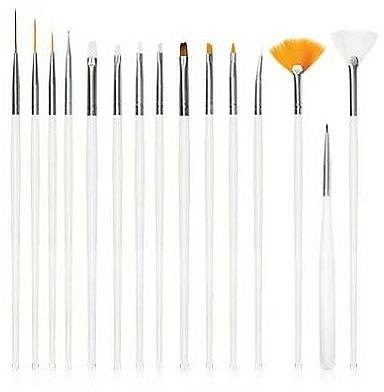 Set pennelli per nail design, bianco, 15 pz - Deni Carte