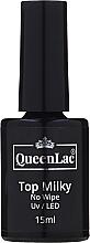 Profumi e cosmetici Top per smalto gel - QueenLac Top Milky No Wipe UV/LED