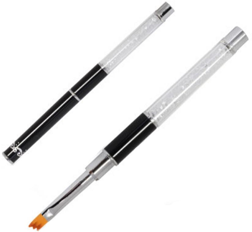Pennello per unghie, con cristalli, nero - Silcare Oblique For Ombre Black — foto N1