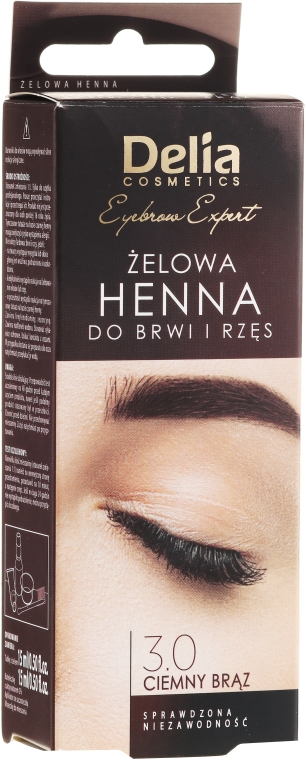 Gel-tinta per sopracciglia, marrone-scuro - Delia Eyebrow Tint Gel ProColor 3.0 Dark Brown