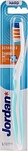 Profumi e cosmetici Spazzolino da denti, duro, senza cappuccio, bianco-azzurro - Jordan Advanced Toothbrush